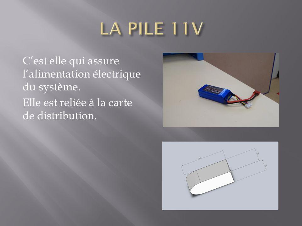 Un trou a été percé dans le support pour permettre le passage des câbles reliant la base fixe au boîtier de distribution des cartes.