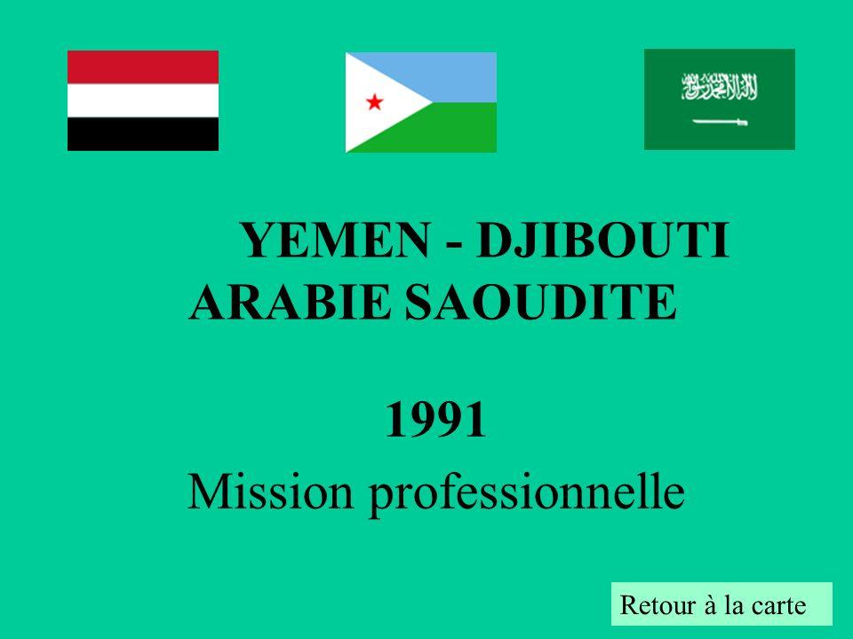 1991 Mission professionnelle Retour à la carte YEMEN - DJIBOUTI ARABIE SAOUDITE