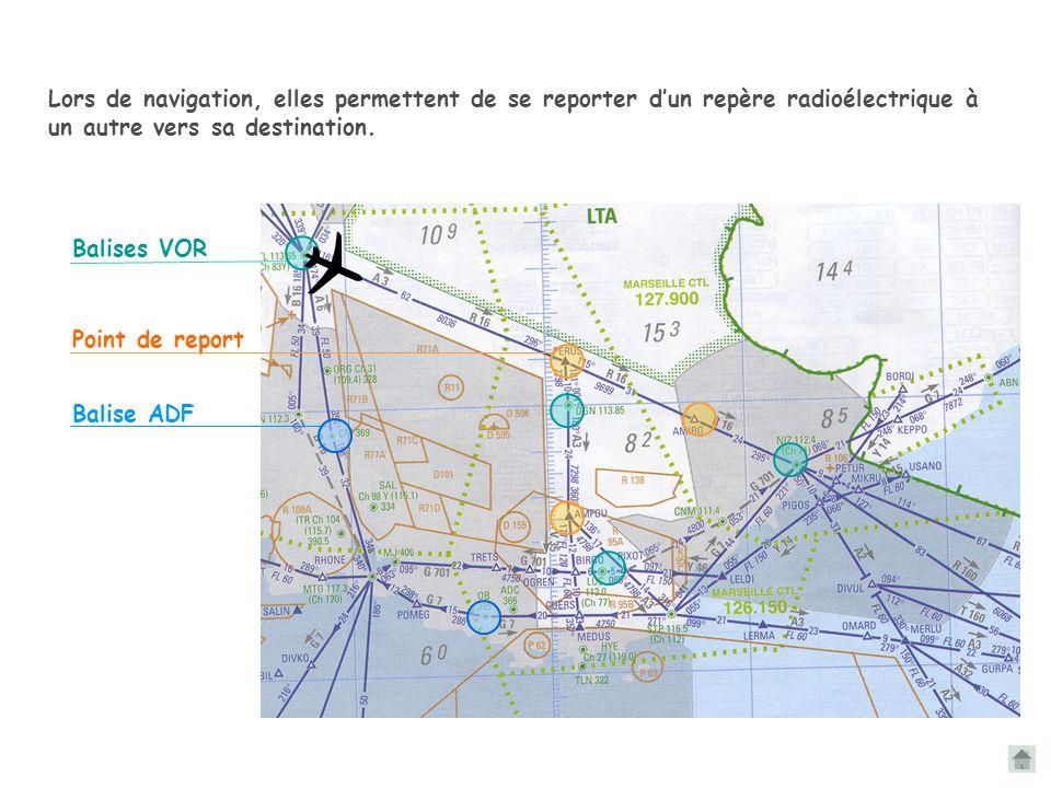 Les balises radioélectriques servent de support aux trajectoires IFR. Elles apparaissent sur les cartes aéronautiques au 1/500 000 ième et au 1/1 000