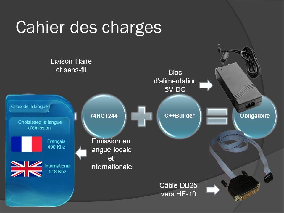 Cahier des charges AD983274HCT244C++BuilderObligatoire Emission en langue locale et internationale Bloc dalimentation 5V DC Câble DB25 vers HE-10 Liai