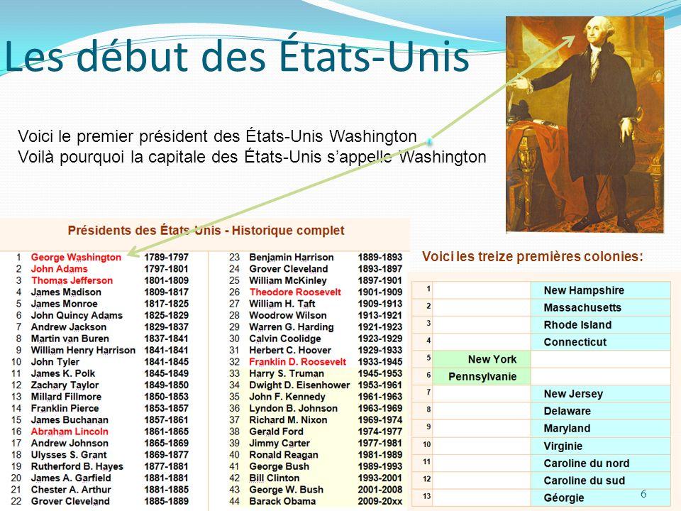 Les début des États-Unis Voici le premier président des États-Unis Washington Voilà pourquoi la capitale des États-Unis sappelle Washington Voici les