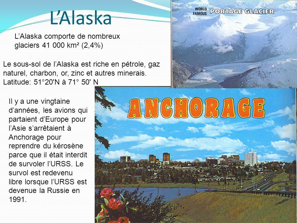 LAlaska Il y a une vingtaine dannées, les avions qui partaient dEurope pour lAsie sarrêtaient à Anchorage pour reprendre du kérosène parce que il étai