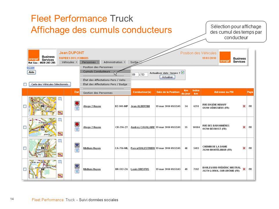 14 Fleet Performance Truck - Suivi données sociales Fleet Performance Truck Affichage des cumuls conducteurs Sélection pour affichage des cumul des temps par conducteur
