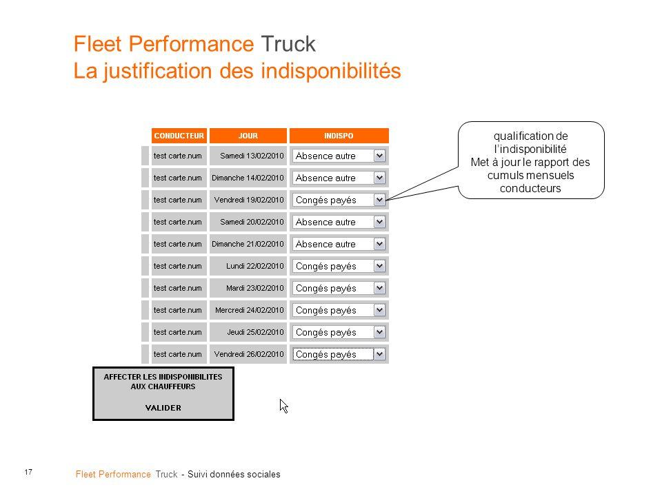 17 Fleet Performance Truck - Suivi données sociales Fleet Performance Truck La justification des indisponibilités qualification de lindisponibilité Met à jour le rapport des cumuls mensuels conducteurs