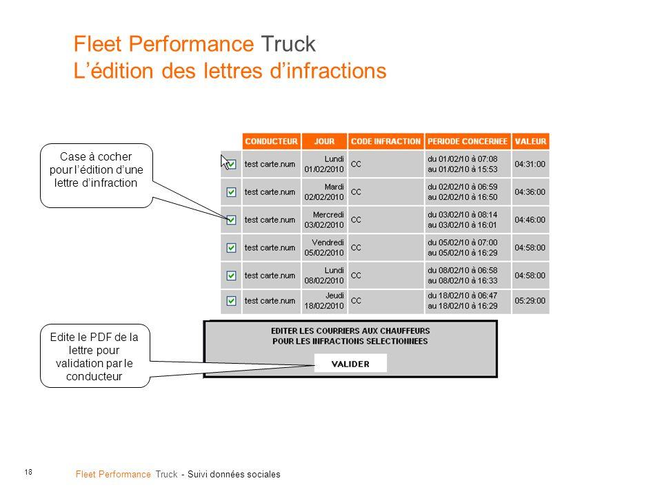 18 Fleet Performance Truck - Suivi données sociales Fleet Performance Truck Lédition des lettres dinfractions Case à cocher pour lédition dune lettre dinfraction Edite le PDF de la lettre pour validation par le conducteur