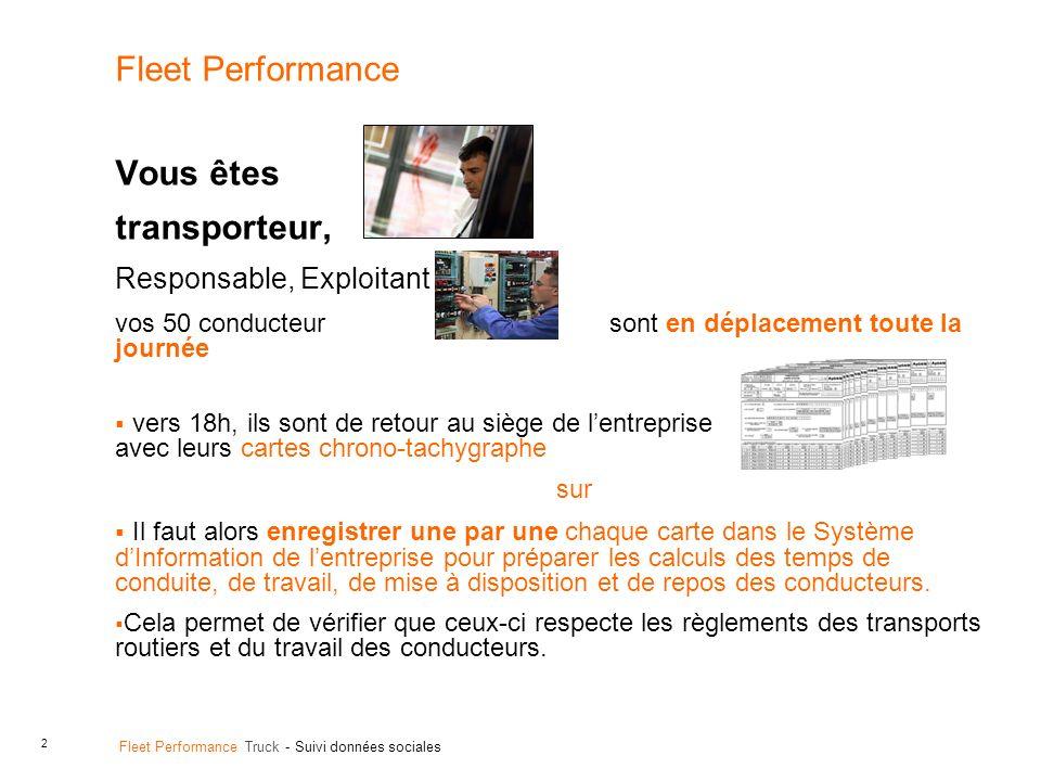2 Fleet Performance Truck - Suivi données sociales Fleet Performance Vous êtes transporteur, Responsable, Exploitant vos 50 conducteur sont en déplace