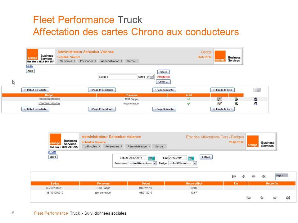 9 Fleet Performance Truck - Suivi données sociales Fleet Performance Truck Affectation des cartes Chrono aux conducteurs