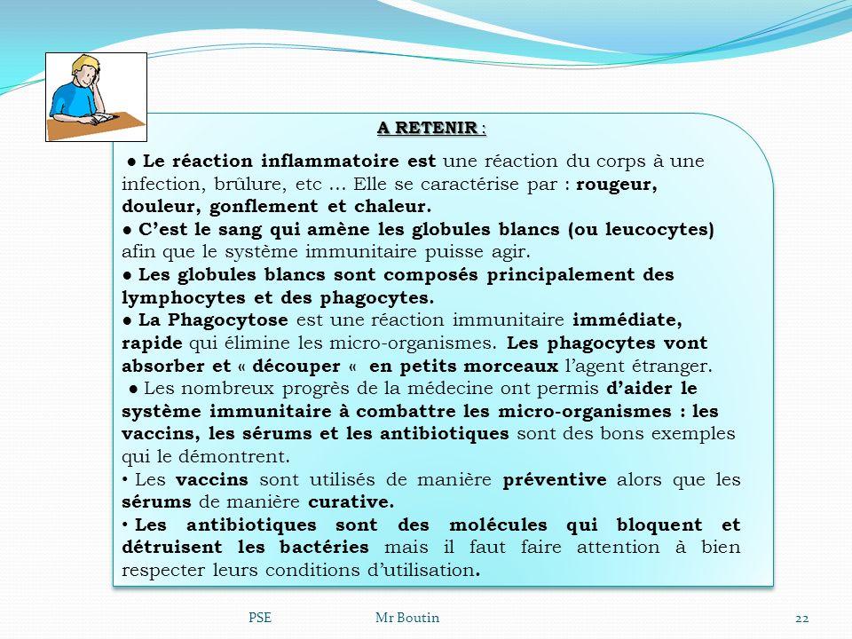 PSE Mr Boutin22 A RETENIR : Le réaction inflammatoire est une réaction du corps à une infection, brûlure, etc … Elle se caractérise par : rougeur, dou