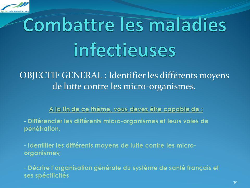 OBJECTIF GENERAL : Identifier les différents moyens de lutte contre les micro-organismes. A la fin de ce thème, vous devez être capable de : - Différe