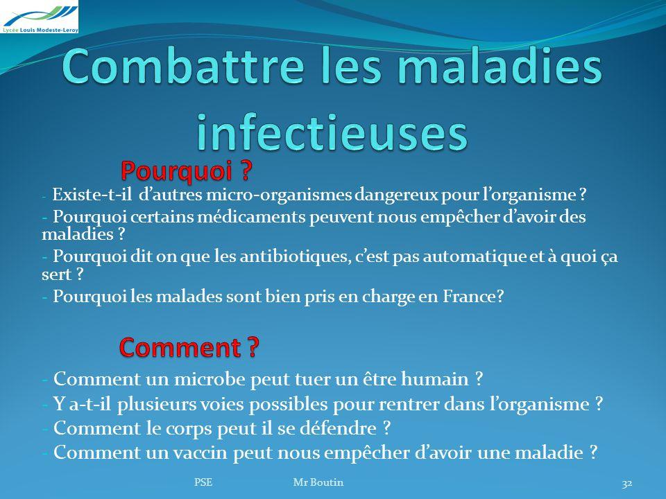 PSE Mr Boutin32 - Existe-t-il dautres micro-organismes dangereux pour lorganisme ? - Pourquoi certains médicaments peuvent nous empêcher davoir des ma