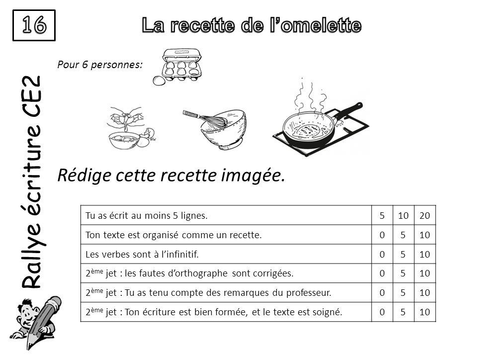 Rallye écriture CE2 Pour 6 personnes: Rédige cette recette imagée. Tu as écrit au moins 5 lignes.51020 Ton texte est organisé comme un recette.0510 Le