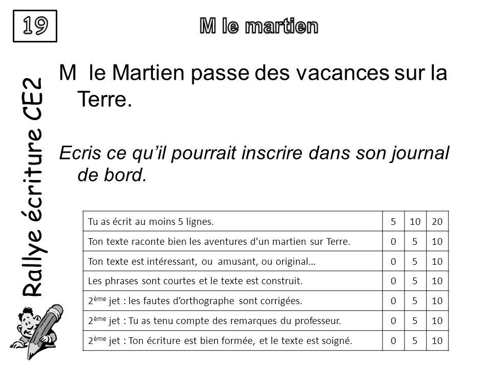 Rallye écriture CE2 M le Martien passe des vacances sur la Terre. Ecris ce quil pourrait inscrire dans son journal de bord. Tu as écrit au moins 5 lig