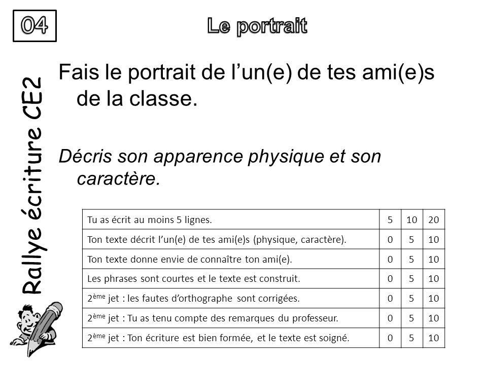 Rallye écriture CE2 Fais le portrait de lun(e) de tes ami(e)s de la classe. Décris son apparence physique et son caractère. Tu as écrit au moins 5 lig