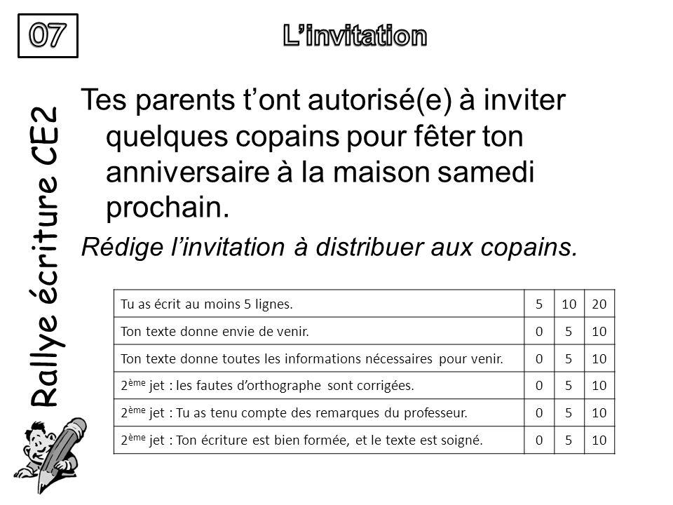 Rallye écriture CE2 Tes parents tont autorisé(e) à inviter quelques copains pour fêter ton anniversaire à la maison samedi prochain. Rédige linvitatio