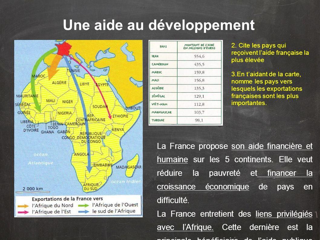 Une aide au développement 2. Cite les pays qui reçoivent laide française la plus élevée 3.En taidant de la carte, nomme les pays vers lesquels les exp