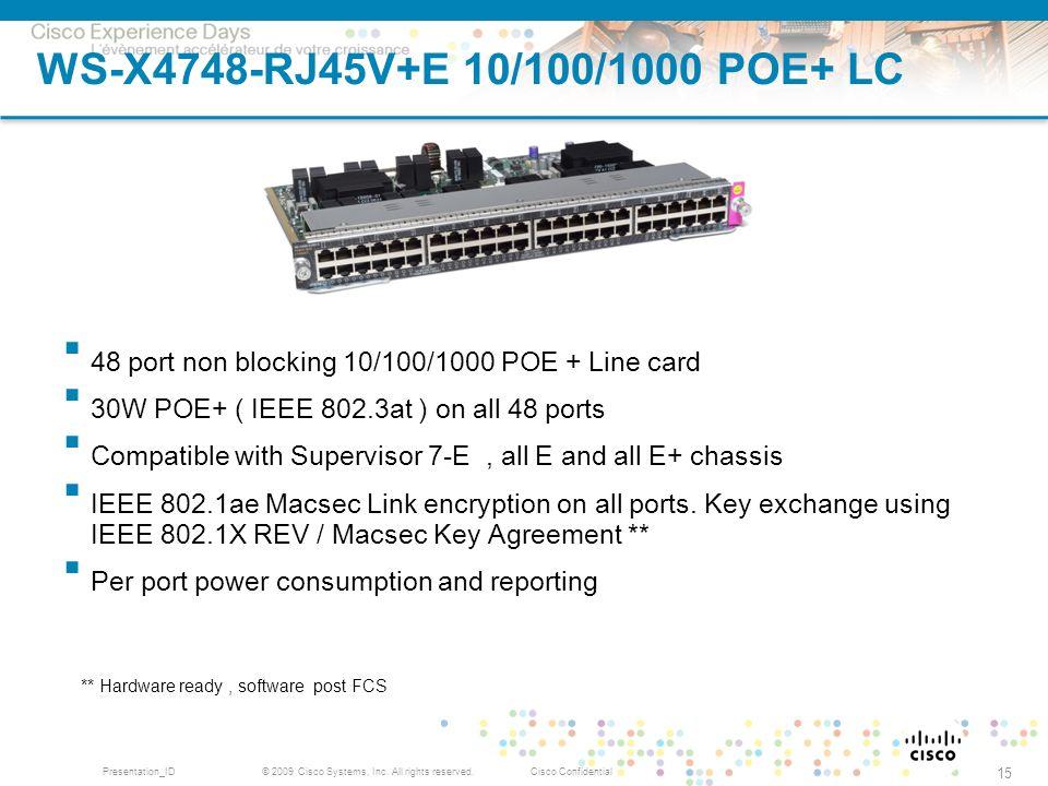 © 2009 Cisco Systems, Inc. All rights reserved.Cisco ConfidentialPresentation_ID 15 WS-X4748-RJ45V+E 10/100/1000 POE+ LC 48 port non blocking 10/100/1