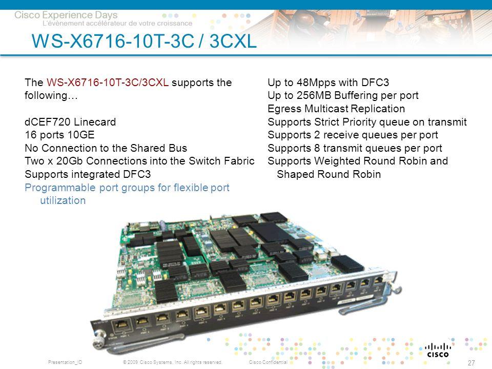 © 2009 Cisco Systems, Inc. All rights reserved.Cisco ConfidentialPresentation_ID 27 WS-X6716-10T-3C / 3CXL The WS-X6716-10T-3C/3CXL supports the follo