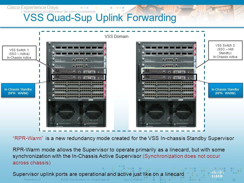 © 2009 Cisco Systems, Inc. All rights reserved.Cisco ConfidentialPresentation_ID 30 VSS Quad-Sup Uplink Forwarding VSS Domain VSS Switch 1 (SSO – Acti