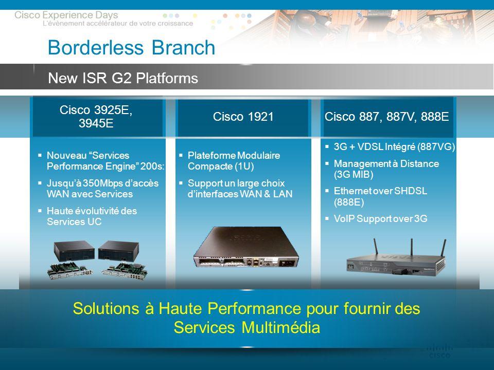 © 2009 Cisco Systems, Inc. All rights reserved.Cisco ConfidentialPresentation_ID 38 Cisco 3925E, 3945E Cisco 1921Cisco 887, 887V, 888E Nouveau Service