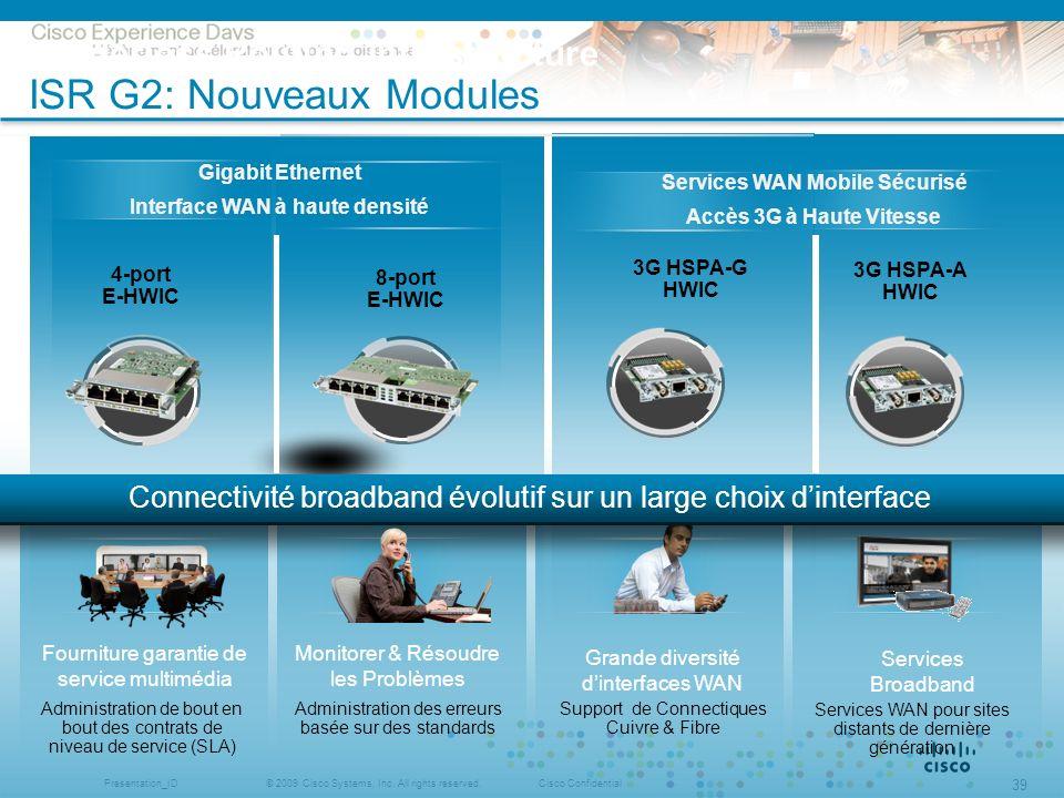 © 2009 Cisco Systems, Inc. All rights reserved.Cisco ConfidentialPresentation_ID 39 Gigabit Ethernet Interface WAN à haute densité 4-port E-HWIC 8-por
