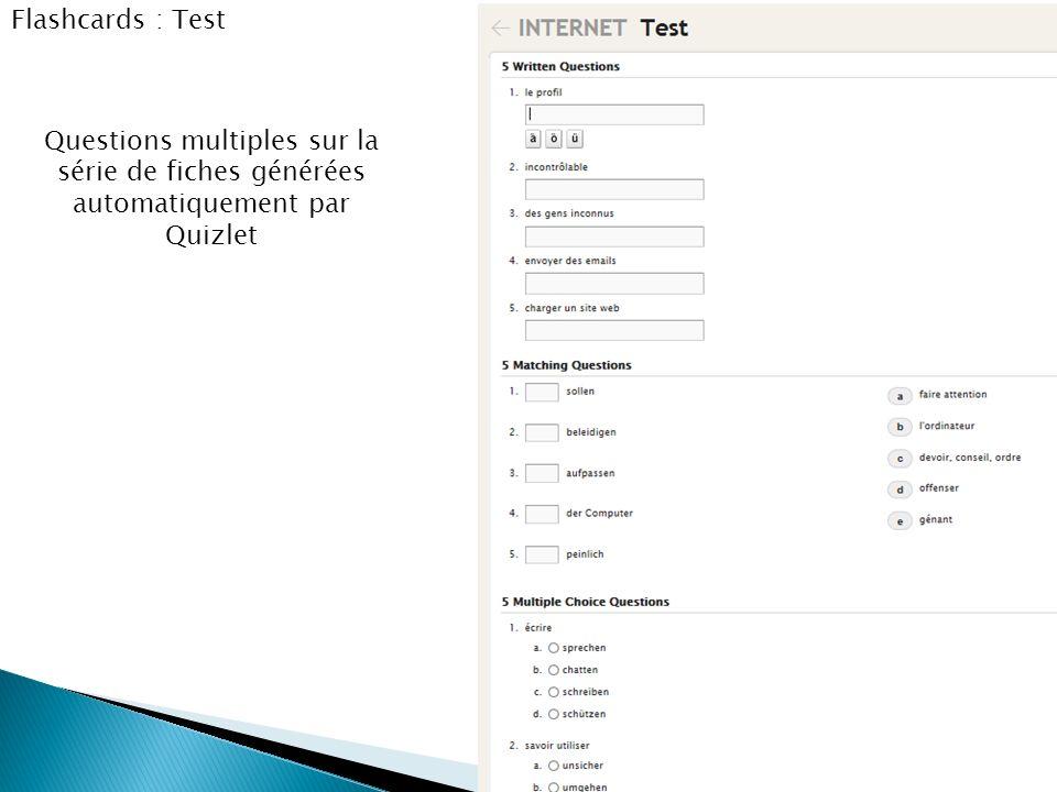 Flashcards : Test Questions multiples sur la série de fiches générées automatiquement par Quizlet