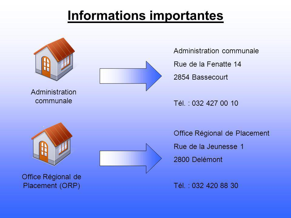 Informations importantes Administration communale Office Régional de Placement (ORP) Administration communale Rue de la Fenatte 14 2854 Bassecourt Tél.