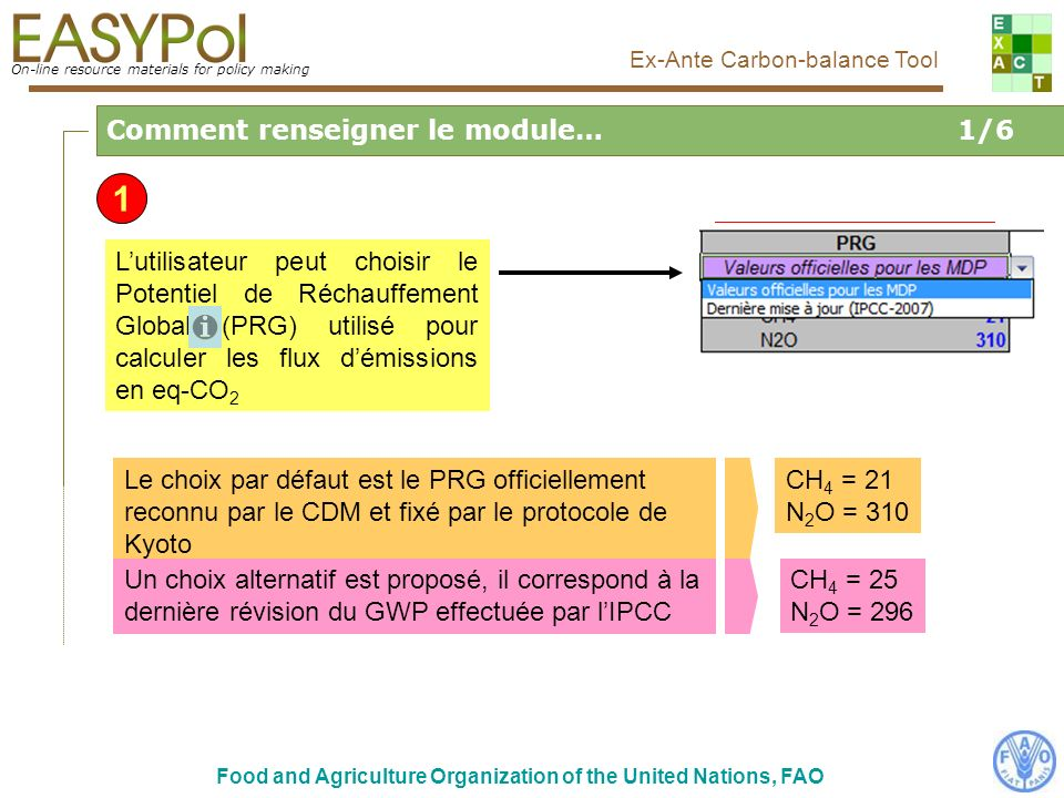 On-line resource materials for policy making Food and Agriculture Organization of the United Nations, FAO Ex-Ante Carbon-balance Tool Copie décran de la page : http://www.fao.org/nr/climpag/climate/img/2tempavg.gif On-line resource materials for policy making Ex-Ante Carbon-balance Tool Liens vers la Carte Mondiale Climat FAO Climate Help Si lutilisateur a accès à internet