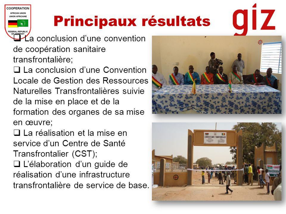 Principaux résultats La conclusion dune convention de coopération sanitaire transfrontalière; La conclusion dune Convention Locale de Gestion des Ress