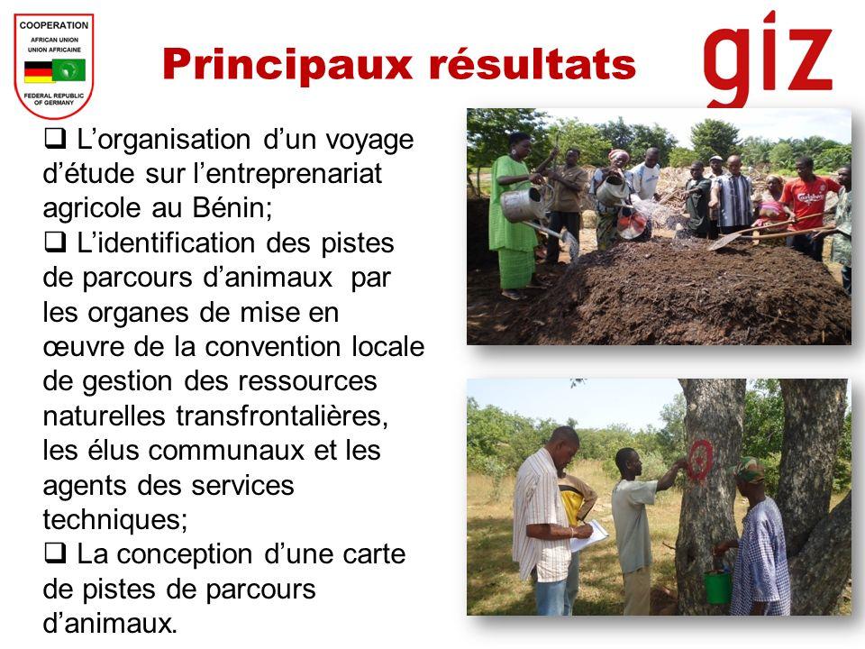 Principaux résultats Lorganisation dun voyage détude sur lentreprenariat agricole au Bénin; Lidentification des pistes de parcours danimaux par les or