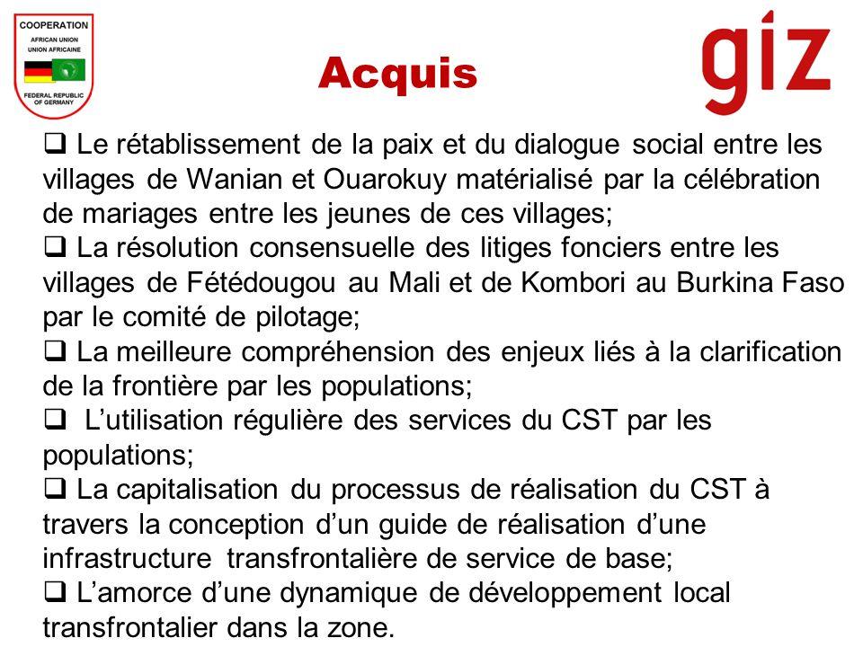Acquis Le rétablissement de la paix et du dialogue social entre les villages de Wanian et Ouarokuy matérialisé par la célébration de mariages entre le