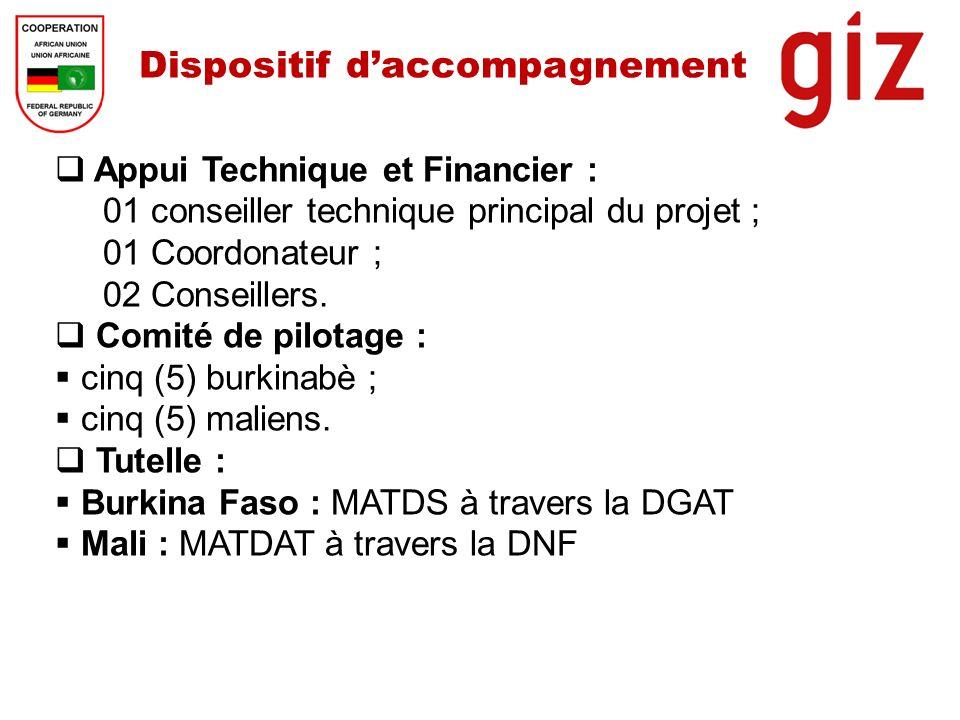 Dispositif daccompagnement Appui Technique et Financier : 01 conseiller technique principal du projet ; 01 Coordonateur ; 02 Conseillers. Comité de pi