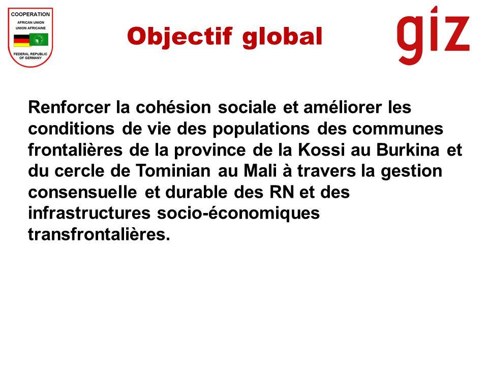 Objectif global Renforcer la cohésion sociale et améliorer les conditions de vie des populations des communes frontalières de la province de la Kossi