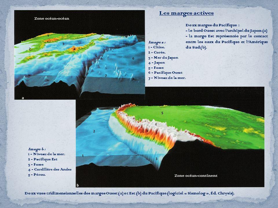 Les marges actives Deux vues tridimensionnelles des marges Ouest (a) et Est (b) du Pacifique (logiciel « Sismolog », Éd. Chrysis). Deux marges du Paci