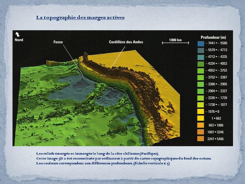 Les reliefs émergés et immergés le long de la côte chilienne (Pacifique). Cette image 3D a été reconstituée par ordinateur à partir de cartes topograp