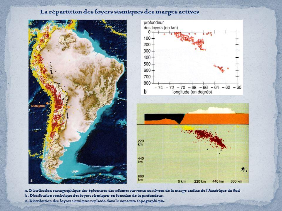 La répartition des foyers sismiques des marges actives a. Distribution cartographique des épicentres des séismes survenus au niveau de la marge andine