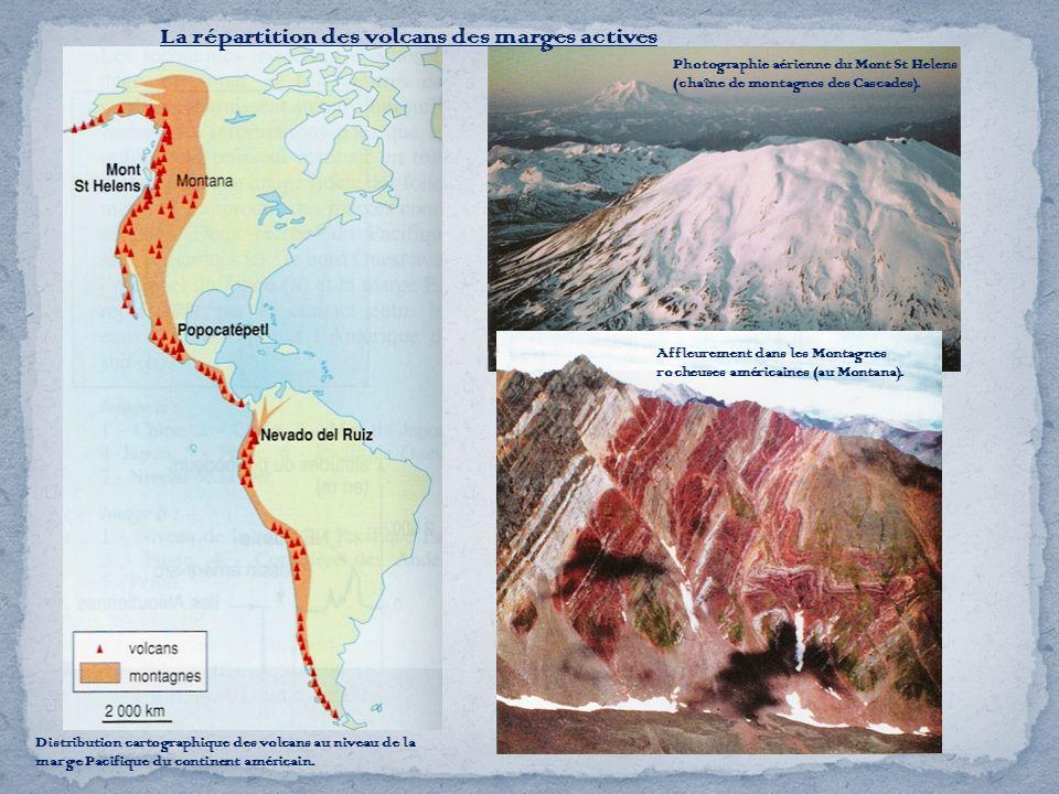 La répartition des volcans des marges actives Distribution cartographique des volcans au niveau de la marge Pacifique du continent américain. Affleure