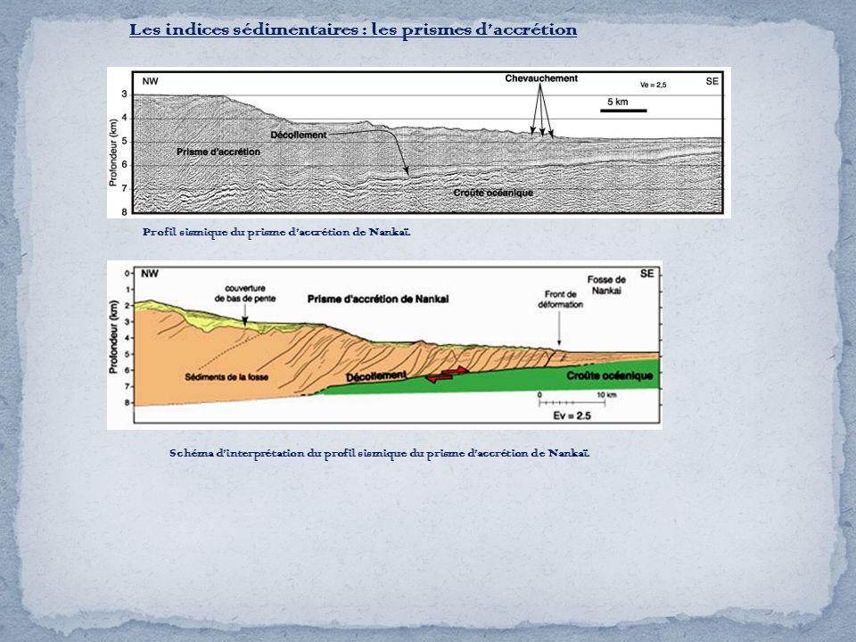 Les indices sédimentaires : les prismes daccrétion Profil sismique du prisme daccrétion de Nankaï. Schéma dinterprétation du profil sismique du prisme