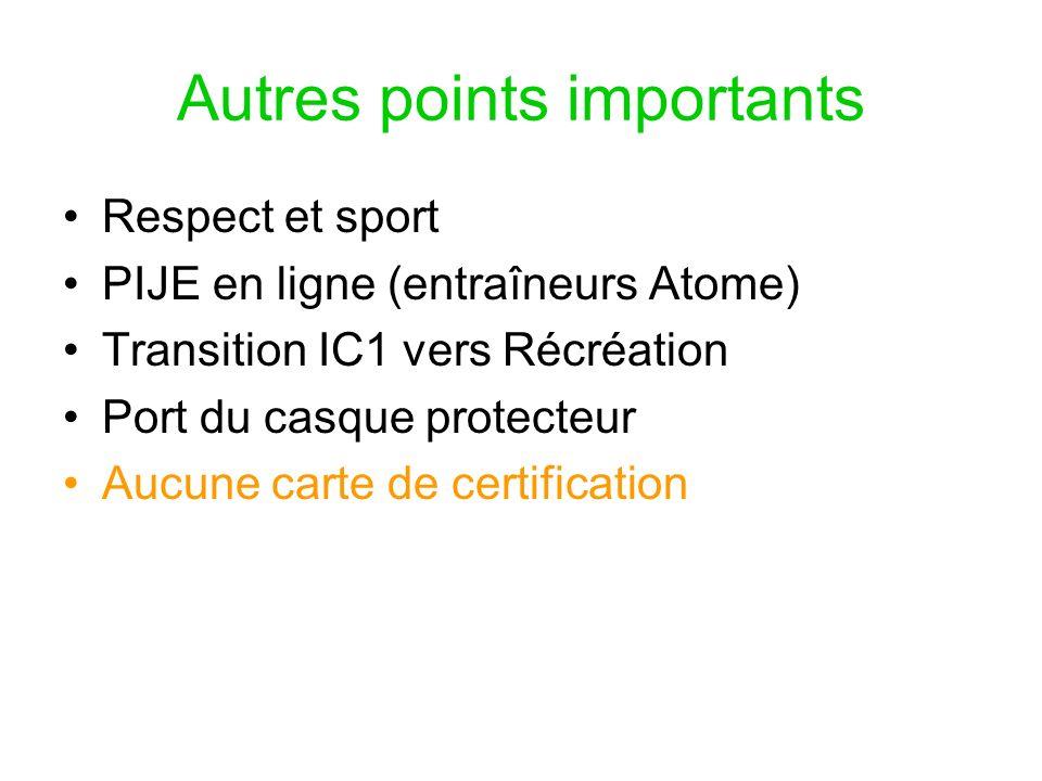 Autres points importants Respect et sport PIJE en ligne (entraîneurs Atome) Transition IC1 vers Récréation Port du casque protecteur Aucune carte de certification