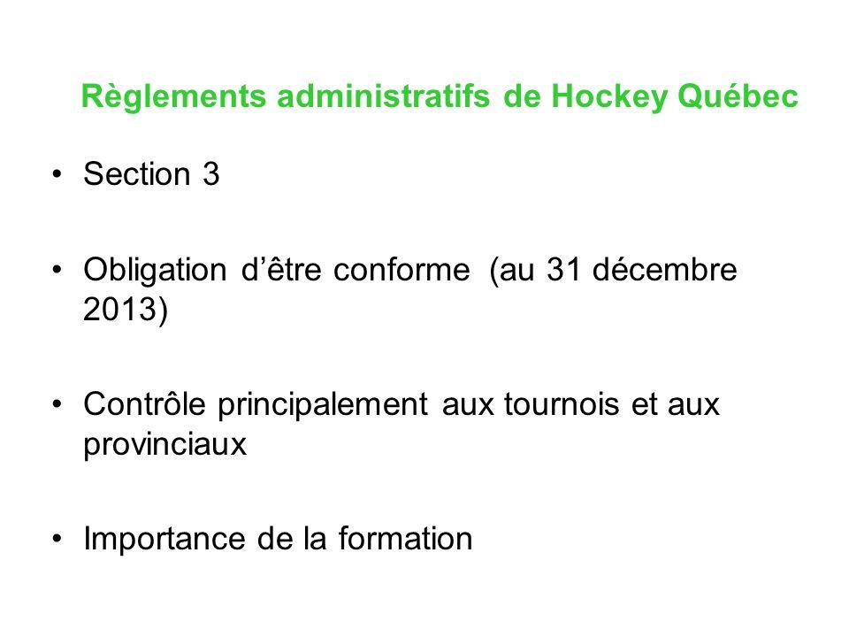 Règlements administratifs de Hockey Québec Section 3 Obligation dêtre conforme (au 31 décembre 2013) Contrôle principalement aux tournois et aux provinciaux Importance de la formation