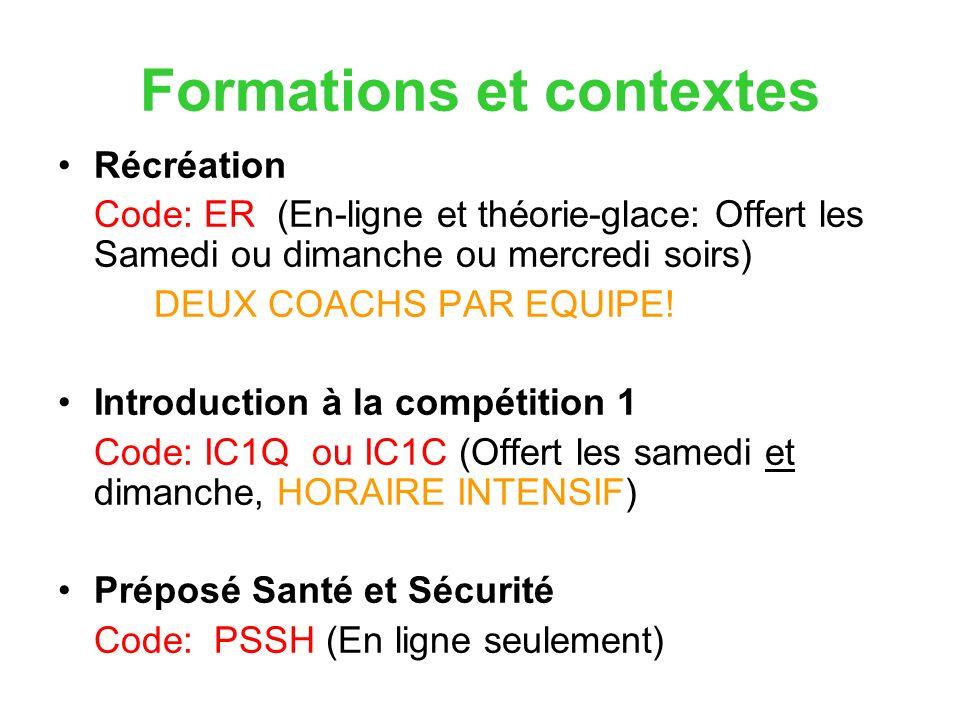 Formations et contextes Récréation Code: ER (En-ligne et théorie-glace: Offert les Samedi ou dimanche ou mercredi soirs) DEUX COACHS PAR EQUIPE.