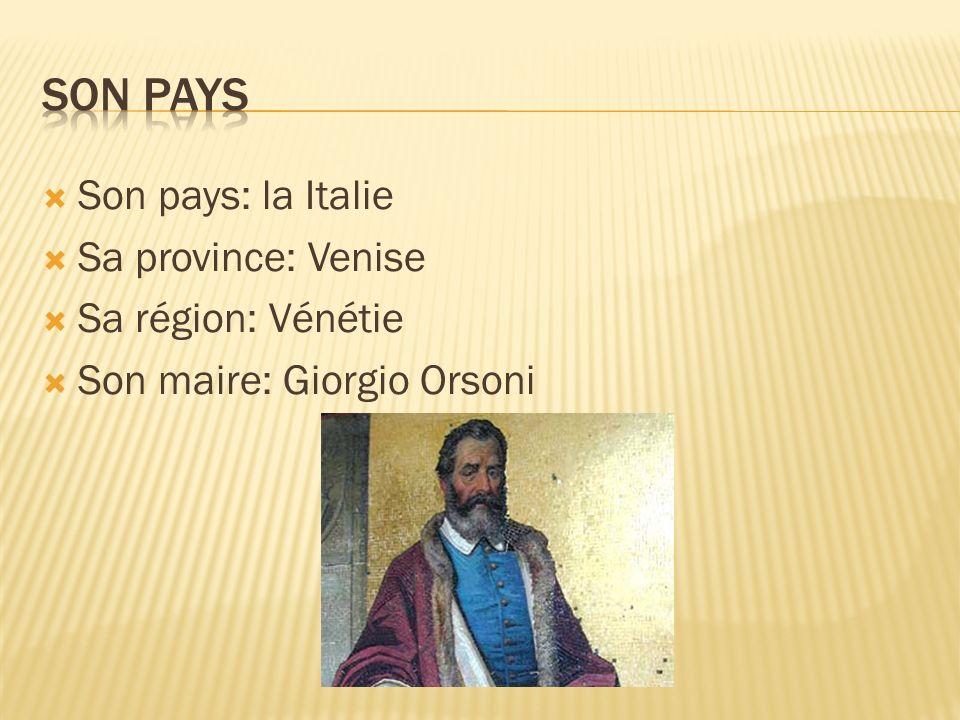 Son pays: la Italie Sa province: Venise Sa région: Vénétie Son maire: Giorgio Orsoni