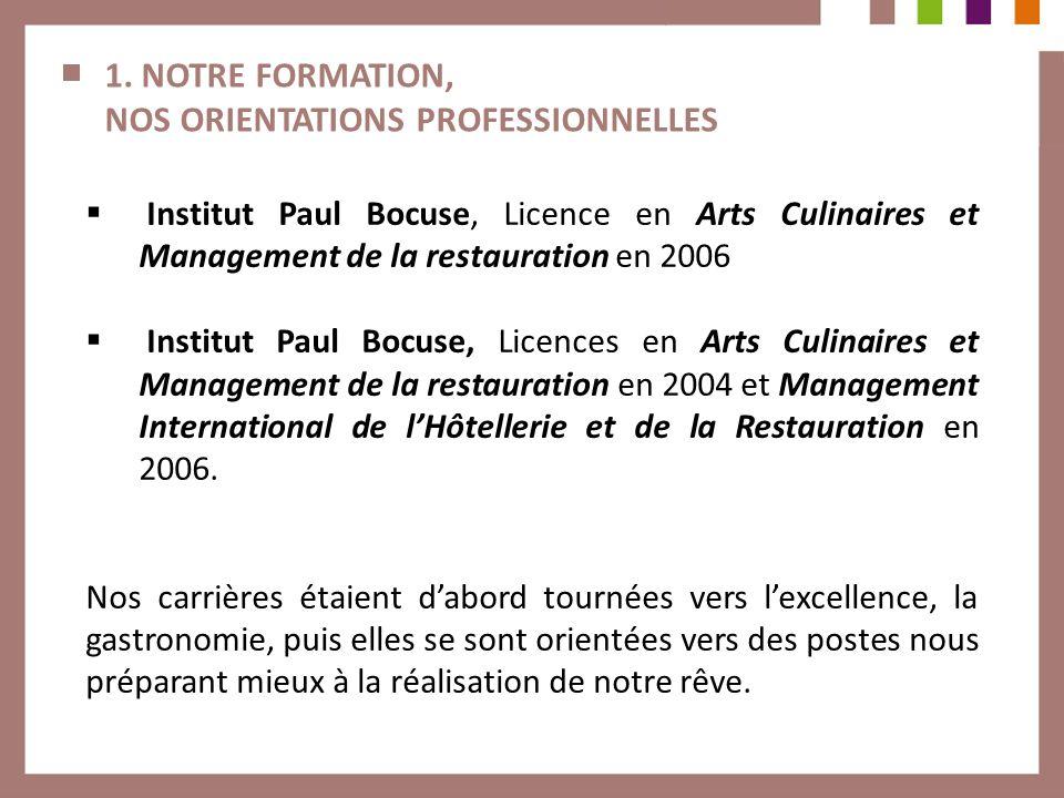 1. NOTRE FORMATION, NOS ORIENTATIONS PROFESSIONNELLES Institut Paul Bocuse, Licence en Arts Culinaires et Management de la restauration en 2006 Instit