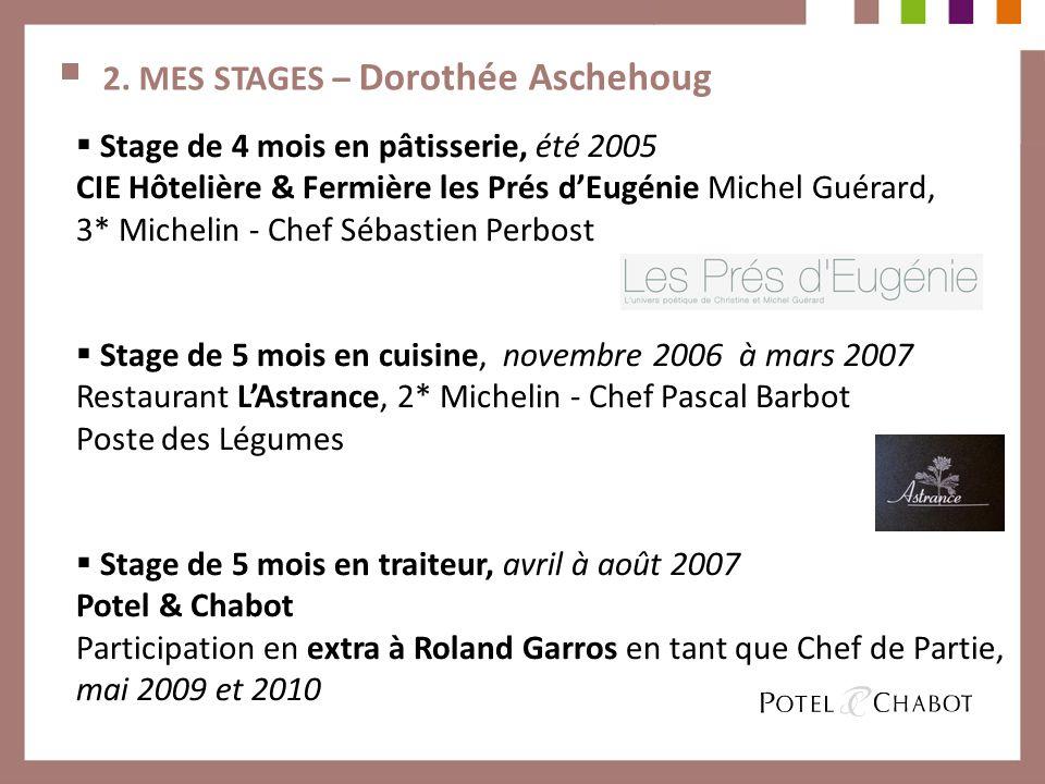 2. MES STAGES – Dorothée Aschehoug Stage de 4 mois en pâtisserie, été 2005 CIE Hôtelière & Fermière les Prés dEugénie Michel Guérard, 3* Michelin - Ch