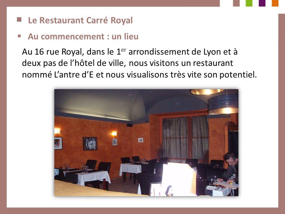 Le Restaurant Carré Royal Au commencement : un lieu Au 16 rue Royal, dans le 1 er arrondissement de Lyon et à deux pas de lhôtel de ville, nous visito