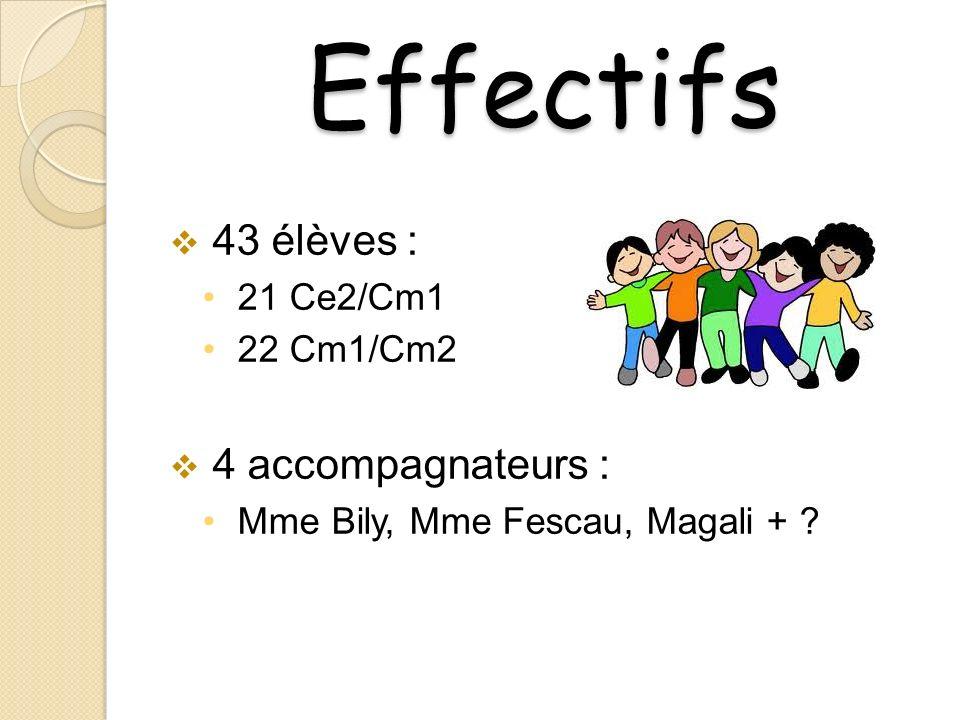 Effectifs 43 élèves : 21 Ce2/Cm1 22 Cm1/Cm2 4 accompagnateurs : Mme Bily, Mme Fescau, Magali + ?
