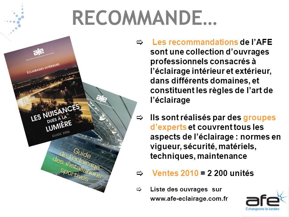 RECOMMANDE… Les recommandations de lAFE sont une collection douvrages professionnels consacrés à léclairage intérieur et extérieur, dans différents do