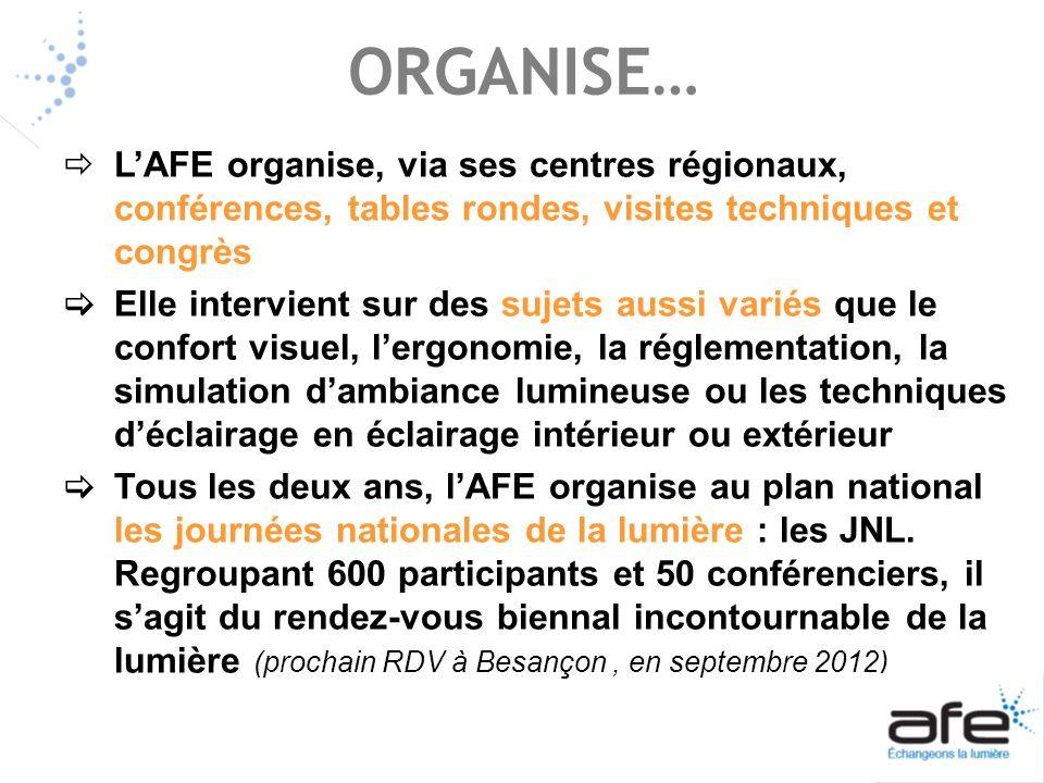 ORGANISE… LAFE organise, via ses centres régionaux, conférences, tables rondes, visites techniques et congrès Elle intervient sur des sujets aussi var