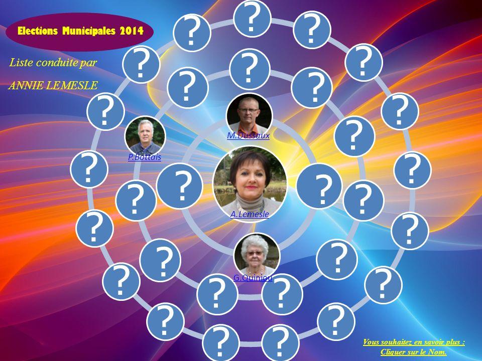 ????????????????? ??????? A.Lemesle Elections Municipales 2014 M.Dussaux Liste conduite par ANNIE LEMESLE P.Bottais Vous souhaitez en savoir plus : Cl