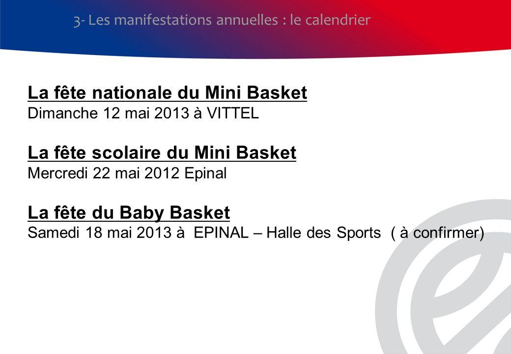3- Les manifestations annuelles : le calendrier La fête nationale du Mini Basket Dimanche 12 mai 2013 à VITTEL La fête scolaire du Mini Basket Mercred