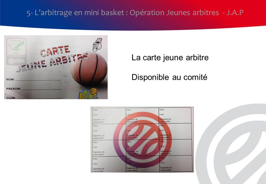 5- Larbitrage en mini basket : Opération Jeunes arbitres - J.A.P La carte jeune arbitre Disponible au comité
